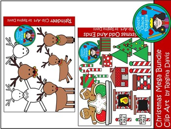 A+ Christmas MEGA Bundle Clip Art...Color And Black And White Included