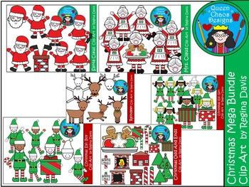 A+ Christmas MEGA Bundle Clip Art...Color And Black And Wh