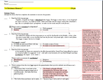 a christmas memory common core keystone aligned quiz and explanatory key - A Christmas Memory Full Text
