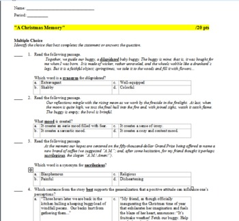 """A Christmas Memory"" Common Core (Keystone) Aligned Quiz and Explanatory Key"
