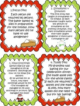 A Christmas Multiplication Word Problem Solving Task Cards Activity