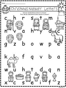 A+ Christmas Nativity: CVC Words And Letter Reading Practice