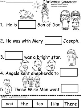 A+ Christmas Nativity Sentences: Fill In The Blank