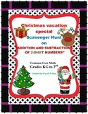 """A Christmas Scavenger Hunt  on """"ADDITION AND SUBTRACTION OF 2-DIGIT NUMBERS''"""