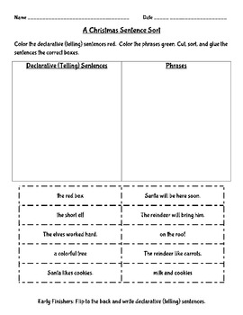 A Christmas Sentence Sort - Declarative and Phrases