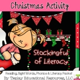 Christmas Stockings Full of  Literacy Sight Words and Phonics Worksheet Packet