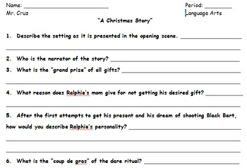 """""""A Christmas Story"""" Film Study Questions"""