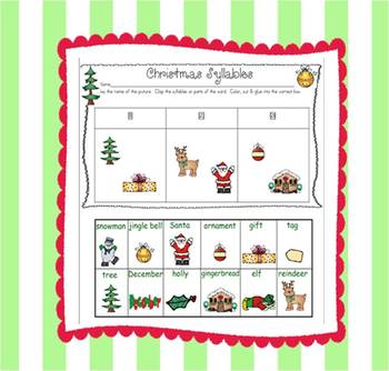 A  Christmas Syllable Match Up