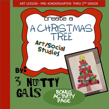 A Christmas Tree Art Project plus bonus art worksheet (string of lights).