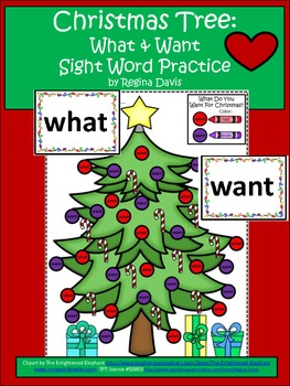 A+ Christmas Tree: What & Want Sight Word Practice