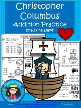 A+  Christopher Columbus: Addition Practice