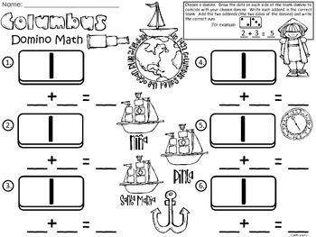 A+ Addition Christopher Columbus: Domino Math