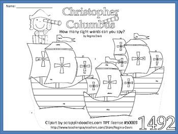 A+ Christopher Columbus Sight Word Find by Regina Davis | TpT