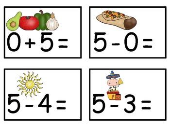 A+  Cinco de Mayo Addition & Subtraction Fluency Practice Cards # 0-5