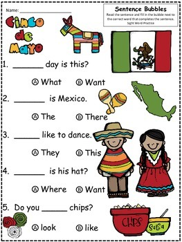 A+ Cinco de Mayo: Fill In the Blank.Multiple Choice Sight Word Sentences