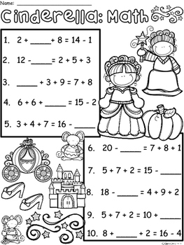 A+ Cinderella: Math... Addition and Subtraction Differentiated  Practice