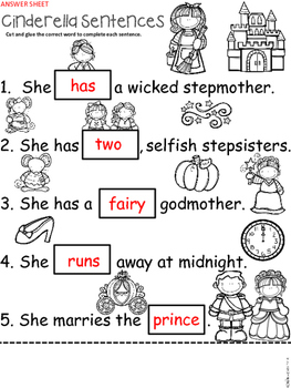 A+ Cinderella Sentences: Fill In The Blank