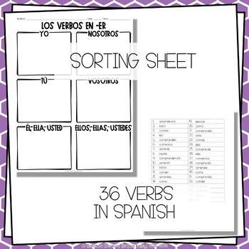 ¡A Clasificar! Los Verbos en -er - Spanish sorting activity for -er verbs