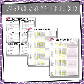 ¡A Clasificar! Los Verbos en -ir - Spanish sorting activity for -ir verbs