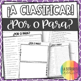 ¡A Clasificar! ¿Por o Para? (in English) - Spanish sorting activity