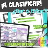 Ser vs Estar Spanish Sorting Activity and Worksheets