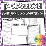Subjunctive vs Indicative Spanish Sorting Activity and Worksheets