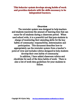 A Classroom Management System That Works: The Reminder System