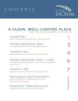 A Clean, Well Lighted Place Lesson
