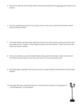 A Clean Well-Lighted Place Questions Worksheet