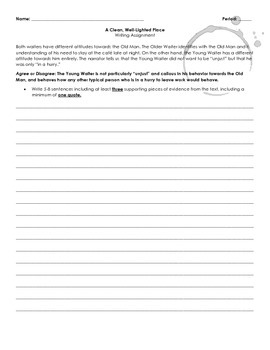 A Clean Well-Lighted Place Writing Activity