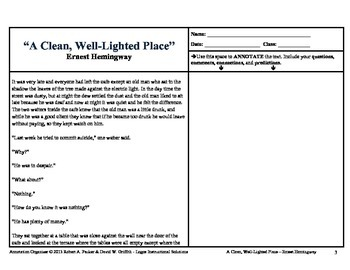 """""""A Clean, Well-Lighted Place"""" by Ernest Hemingway: Annotation Organizer"""