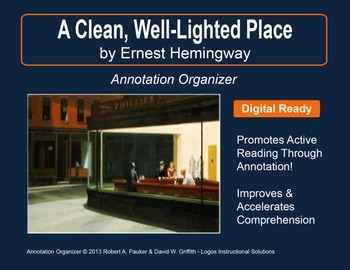 a clean well lighted place teaching resources teachers pay teachers  a clean well lighted place by ernest hemingway annotation organizer ·