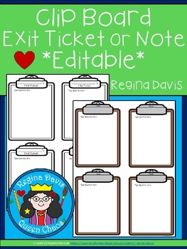 A+ Clipboard Exit Ticket or Notes: *Editable*