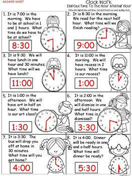 A+ Clock Work: Elapsed Time Analog Clock & Digital Clock (Hour & Half Hour)