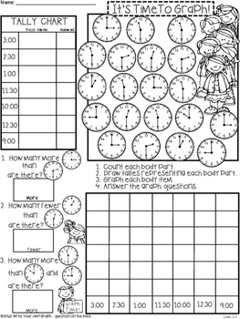 A+ Clocks: It's Time To Graph!  Count, Tally, Graph, and Compare