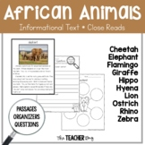 African Animals (Savanna) Informational Text Close Reading
