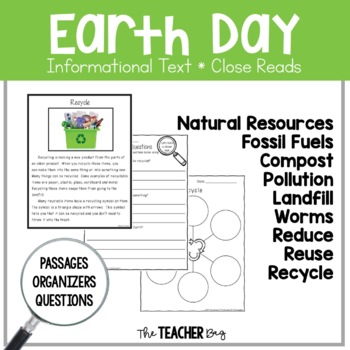 Close Read- Earth Day (recycling, natural resources, worms)