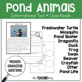 Pond Animals Informational Text Close Reading