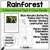 Rainforest Animals Informational Text Close Reading