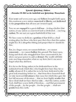 A Close Read of The Gettysburg Address with Text Dependent Questions