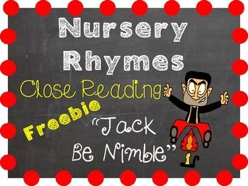 A Close Reading 1st Grade Freebie - Jack Be Nimble