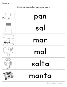 Spelling: Writing Closed A Syllables (Spanish)
