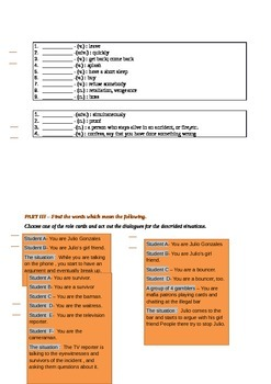 A Cloze Test  A Lover or An Arsonist Additional Vocabulary  Role-play Activities