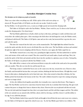 A Collection of Creation Myths with Student Response Handout