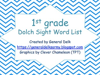 A Collection of Dolch Sight Words with chevron design