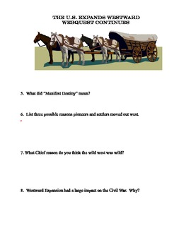 Westward Expansion, the Land Rush, and The Gold Rush-A Collection of Webquests