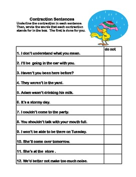 A Comprehensive Review of Contractions- Spring Theme