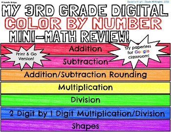 A Color by Number Mini-Math Review Flipbook: Digital and Printable Versions