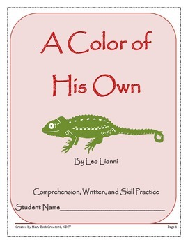 A Color of His Own {Comprehension and Written Response Activities}