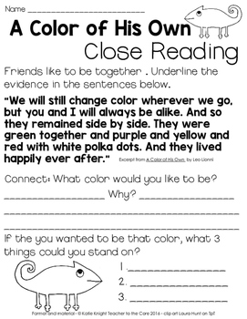 A Color of His Own {Close Reading and Writing}